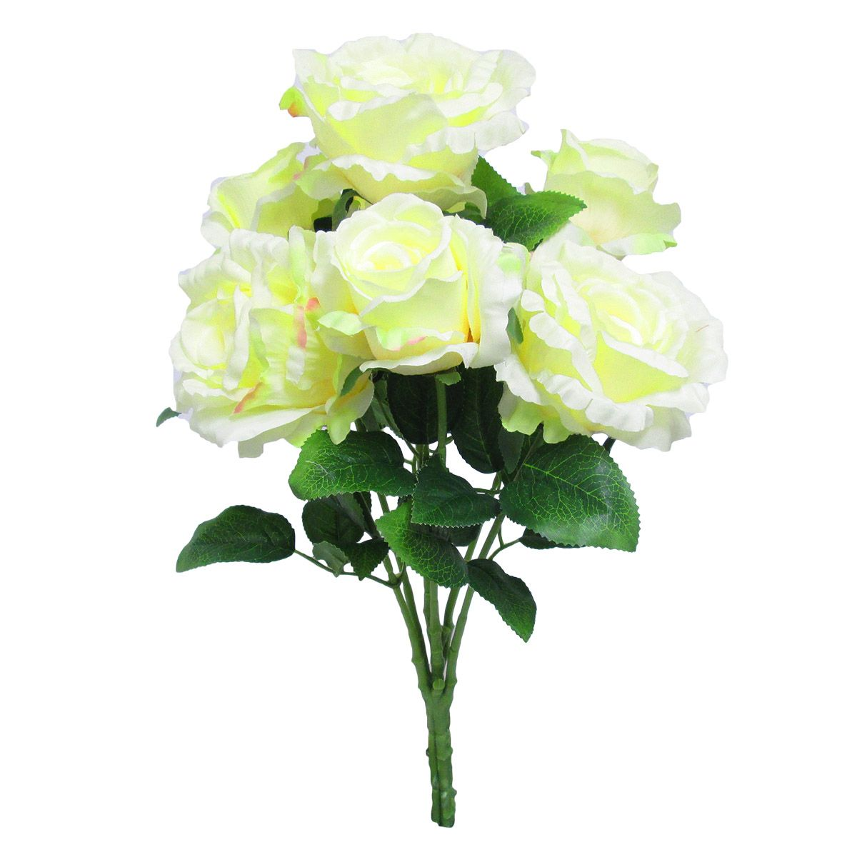 Deluxe Elegant Rose Bush x7, 22.5in, Light Yellow