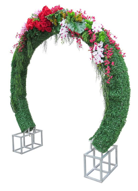 Metal Round Floral Arch with Base, Silver